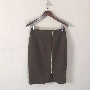 NWT Ann Taylor Camel Zipper Front Pencil Skirt